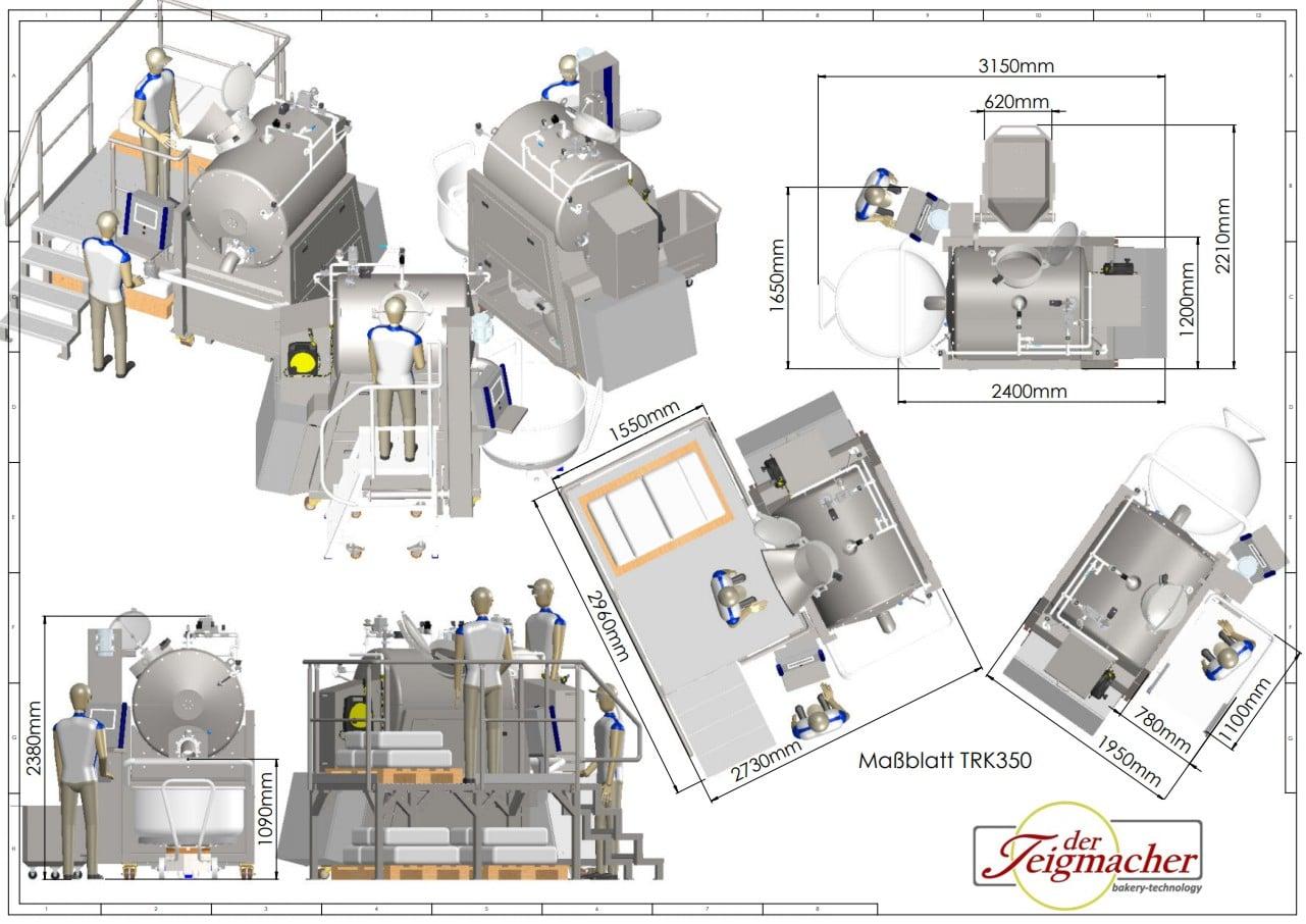 Sistema di cottura e arrosto Scheda dimensionale TRK350