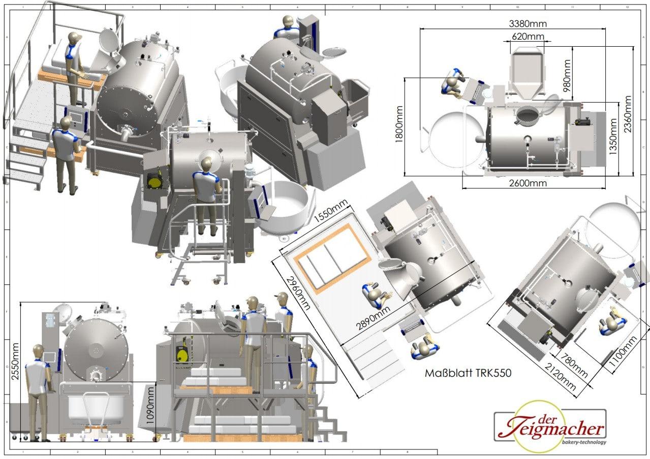 Sistema di cottura e arrosto Scheda dimensionale TRK550